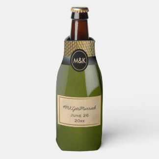 Mini Champagne Wedding Hashtag Bottle Cooler
