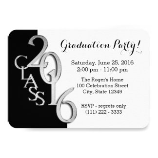 Mini Class of 2016 Black and Silver Card