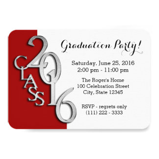 Mini Class of 2016 Red and Silver Card