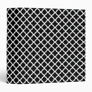 Mini Clover Quatrefoil Pattern Black and White Vinyl Binder