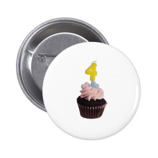 Mini cupcake with candle for four year old 2 inch round button