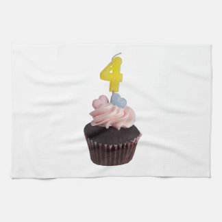Mini cupcake with candle for four year old kitchen towel