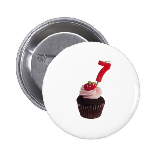 Mini cupcake with number seven candle 2 inch round button