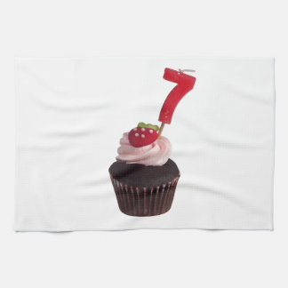 Mini cupcake with number seven candle kitchen towel