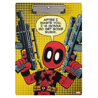 Mini Deadpool With Guns Clipboard