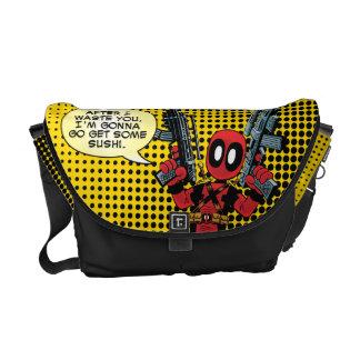 Mini Deadpool With Guns Courier Bag