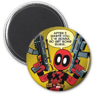 Mini Deadpool With Guns Magnet