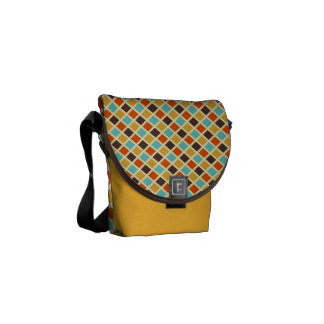Mini Diamond Checkered Blue Yellow Red Colors Messenger Bags