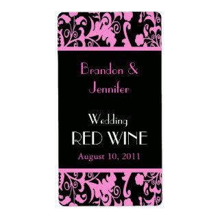 Mini étiquettes roses et noirs de vin de mariage d étiquettes d'expédition