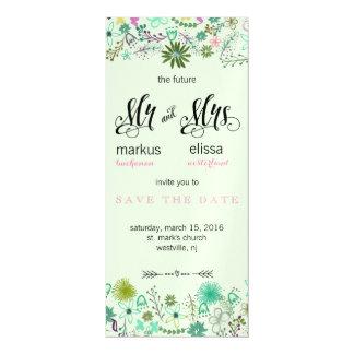 Mini Flowers Save the Date Wedding Invite Magnetic Invitations