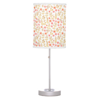 Mini Gold and Coral Florals Table Lamp
