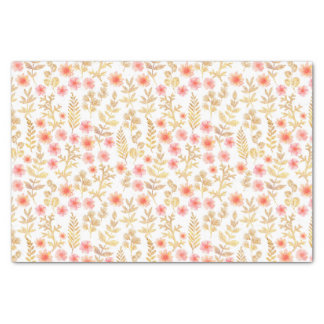 Mini Gold and Coral Florals Tissue Paper