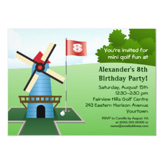 Mini Golf Windmill Fairway Party Invitation