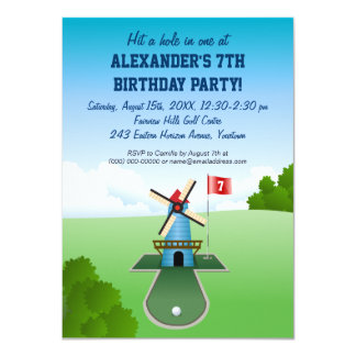 Mini Golf Windmill Party Invitation