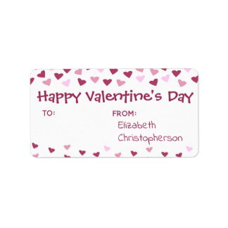 Mini Hearts TO FROM Valentine Treat Label