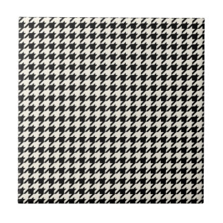 Mini Houndstooth Pattern Black and Cream Tile