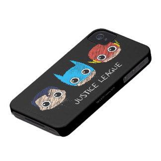 Mini Justice League Heads Sketch Case-Mate iPhone 4 Cases