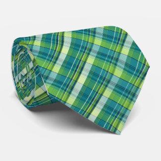 Mini Madras Plaid Teal Single-Sided Tie