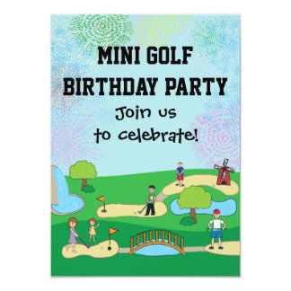 Mini Miniature Golf Birthday Party Invitations