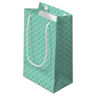 Mini Mint and White Quatrefoil Small Gift Bag