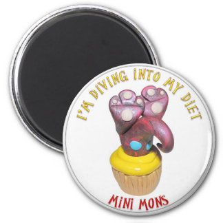 "Mini Mons ""Diving into a diet"" Magnet"