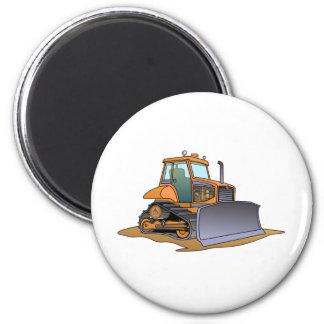 Mini Orange Bulldozer 2 Inch Round Magnet