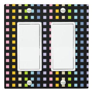 Mini Pastel Rainbow Squares Black Light Switch Cover