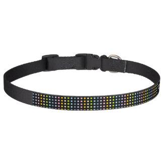 Mini Pastel Rainbow Squares Black Pet Collar