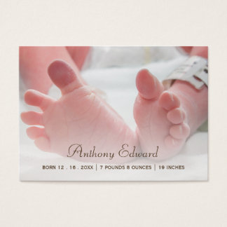 Mini Photo Newborn Baby Feet Birth Announcements Business Card