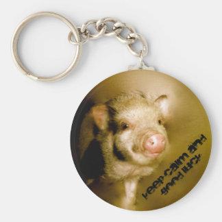 "Mini pig ""Keep calm and good luck "" Basic Round Button Keychain"
