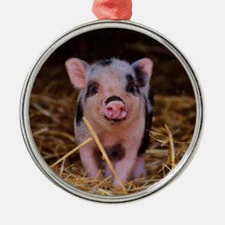 mini pig metal ornament