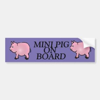 MINI PIG ON BOARD, Pink Mini Pig Bumper Sticker
