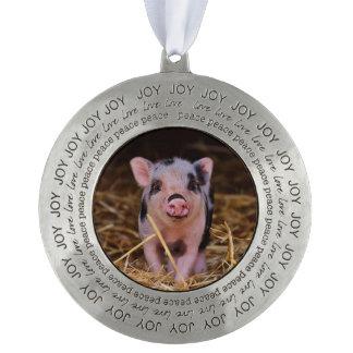 mini pig pewter ornament