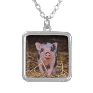 mini pig silver plated necklace