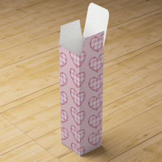 Mini Plaid Hearts Pattern Wine Gift Box