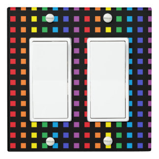 Mini Rainbow Squares Black Light Switch Cover