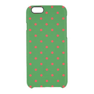 Mini Red Dots on Christmas Green Clear iPhone 6/6S Case