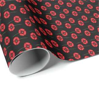 mini red poppies on black backing wrapping paper