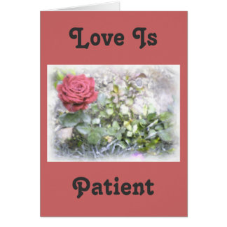 Mini Red Rose Watercolor Love Is Bible Verses Card