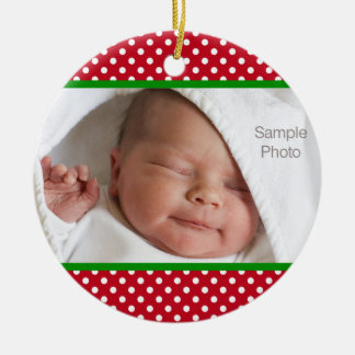 Mini Red White Polka Dots Christmas Baby Photo Ceramic Ornament