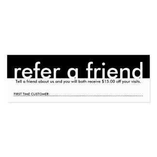 mini référez-vous un ami carte de visite petit format
