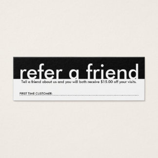 mini référez-vous un ami mini carte de visite