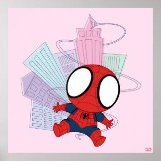 Mini Spider-Man & City Graphic Poster