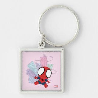Mini Spider-Man & City Graphic Silver-Colored Square Keychain