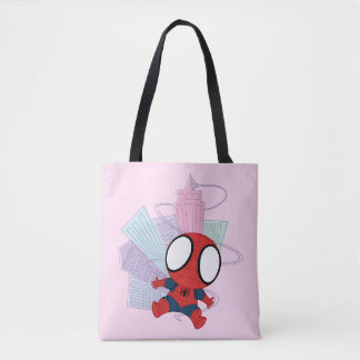 Mini Spider-Man & City Graphic Tote Bag