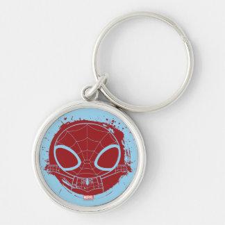 Mini Spider-Man Grunge Graphic Silver-Colored Round Keychain