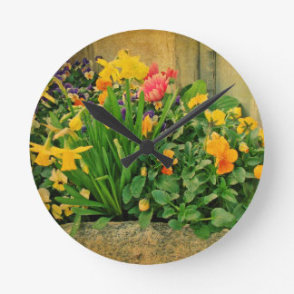 Mini Springtime Garden Round Clock