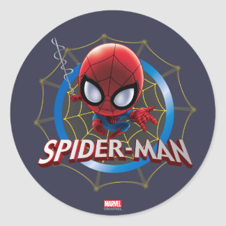 Mini Stylized Spider-Man in Web Classic Round Sticker