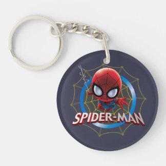 Mini Stylized Spider-Man in Web Double-Sided Round Acrylic Keychain