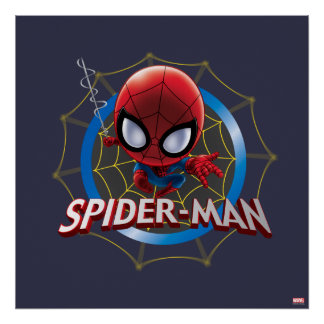 Mini Stylized Spider-Man in Web Poster
